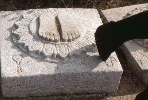 Stone footprints at Sravanbelgola with goat