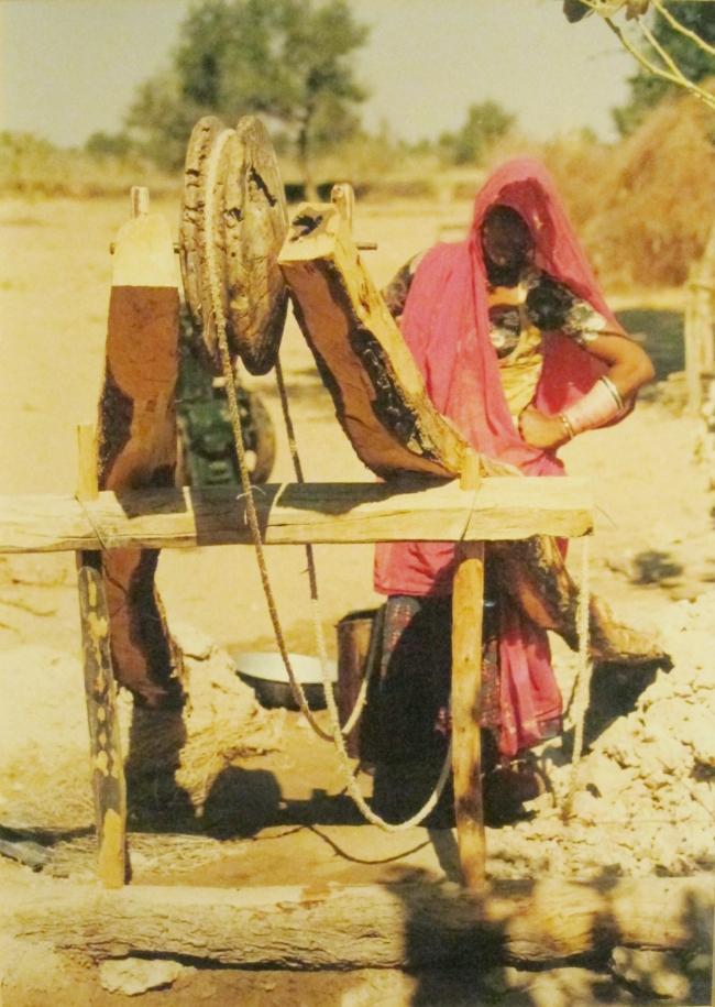 Rajasthani woman at a hand-dug well